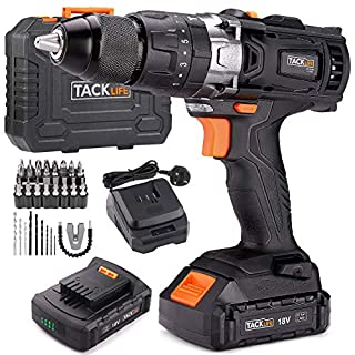 Cordless Drill, TACKLIFE 18v Electric Drill with Hammer, 2pcs 2.0A Li-Ion Batteries, 13mm Chuck 35N.m,2 Speed Drill Driver 1H Fast Charger, 43pcs Free Accessories, Compact Case, PCD04B