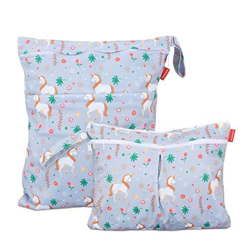 Damero 2 Stück windeltasche wetbag wiederverwendbar, Nasstaschen für Unterwegs, Wetbag windelbeutel für Babys Windeln, schmutzige Kleidung und anderes Zubehör, (Groß + Klein, Einhorn)