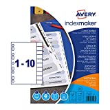 Avery 01999001 A4+ Extra Wide IndexMaker Dividers, 10 Part Dividers - White