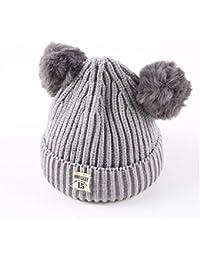 ODJOY-FAN-bambino Doppia palla Hairball Lana Cappello lavorato a maglia  twist caldo-Inverno caldo Cappuccio Sciarpa Caps Fox scialli di… 837b8970910b