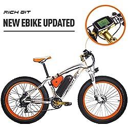 RICH BIT RT-022 E-Bike bicicleta de eléctrica 26 pulgadas 4.0 Fat tire de montaña bicicleta eléctrica bicicleta ebike Motor de alta potencia de 1000 W 48 V * 17 Ah recargable de litio de alta capacid