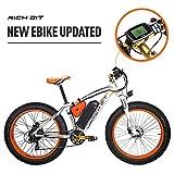 RICH BIT 1000W/48V/17AH Vélos électriques VTT 26''*4'' gros pneu 7 niveaux de pédale assistée Affichage LCD Compteur de vitesse 45-65KM lithium-ion battery Orange