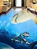 Weaeo 3D-Bodenbeläge Custom Luxus Wallpaper 3D Stock Hai Fish 3D Fototapete Zimmer Wandbild 3D Stock Tapete Wohnzimmer-350 X 250 Cm.