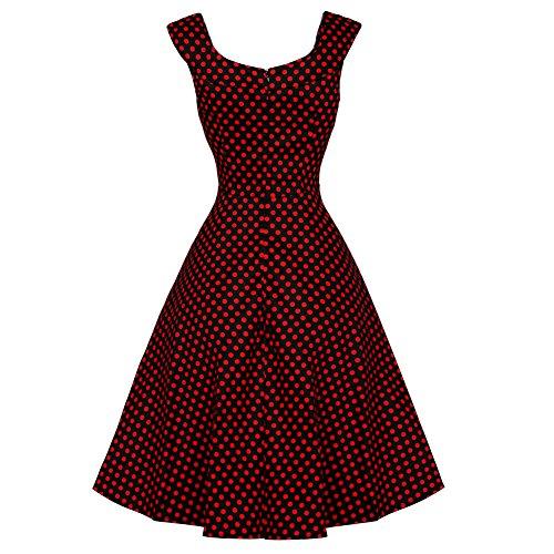 WintCo Damenkleid Europäisches Andrey Hepburn Retrokleid Knielang Runder Kragen ohne Ärmel Großer Rand Kleid Mehrere Bilder Rote Polka Punkte