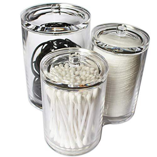 Kovira Wattepad aufbewahrung, Wattepads Wattestäbchen Halter Spender Wattebausch Tupferhalter, Acryl klar verbindend 3 runde Behälter mit Deckel - Wattepad-spender
