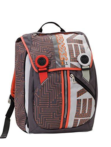 Sac à dos extensible SEVEN - CIRCUIT - gris orange - Avec écouteur - école et loisirs 28 litres nouveau