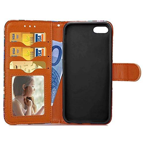 Apple IPhone 6S Plus Fall abstrakte Blumenmuster TPU PU-Lederbezug Fall Retro Folio Flip Wallet Stand Case mit Kartensteckplatz Fotorahmen für Apple IPhone 6S Plus ( Color : 2 , Size : IPhone 6S Plus  2