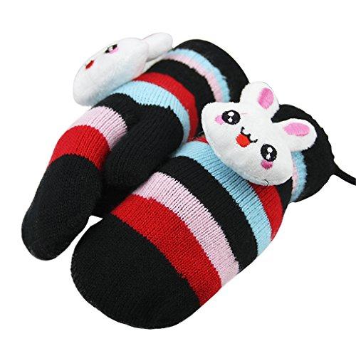 Children Hang Neck Gloves Kids Winter Full Finger Knitted Wrist