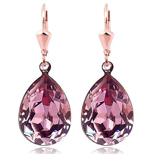 Ohrringe mit Kristallen von Swarovski® Rosegold Mauve Pink Tropfen NOBEL SCHMUCK