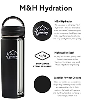 Stainless Steel Water Bottle - Thermo Flask Water Bottle - Hydration Bottle Eco Friendly - M&h Hydration Leak-proof, | Bpa-free Stainless Steel | Reusable Water Bottle | Double Walled Vacuum Insulated | Sistema - Keeps Drinks Cold For 18+ Hrs, Hot For 8 - Hiking, Running, Outdoors Water Bottle (32oz - 909ml) 2