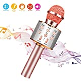 Microfono Karaoke Bluetooth con Altoparlante,Microfono Bluetooth,Microfoni Wireless Disco,Microfono Bambini Senza Fili Adulti, Portatile KTV Karaoke Player per Cantare per Android iOS Smartphone