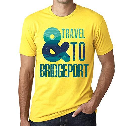 Herren Tee Männer Vintage T Shirt and Travel to Bridgeport Gelb - Bridgeport Band
