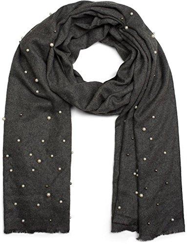 styleBREAKER edler weicher Schal mit Perlen Applikation, Winter Schal, Stola, Tuch, Damen 01017074, Farbe:Dunkelgrau