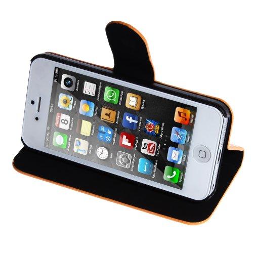 wortek Flip Case im Bookstyle Apple iPhone 5 / iPhone 5S mit Magnetverschluss und Fach für Karten Retro Punkte Orange Orange