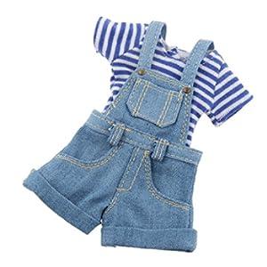 T-Shirt per Le Bambole Blythe Accessori MagiDeal Moda 1/6 Tuta Striscia Blu