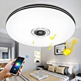 ELINKUME Controllo Bluetooth e 32W-Lampada da soffitto a LED multicolore, con Bluetooth, altoparlanti 2700-7000 k