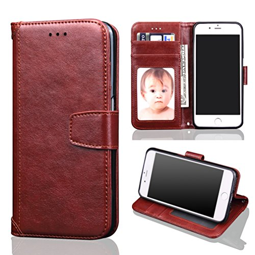 iPhone 7 Case, Heyqie(TM) Premium Apple iPhone 7 Flip Leather Case with Card solts Wallet Cover with Kickstand Function and Credit Card ID Holders for iPhone 7 2016 Release - Gold Brown
