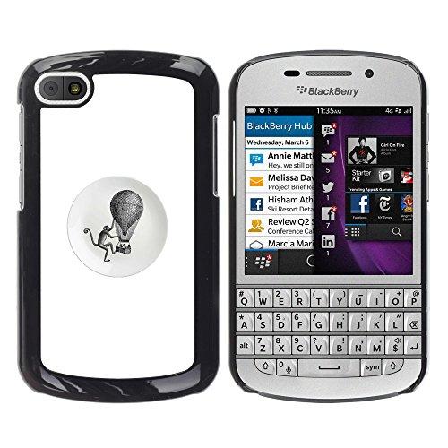 WonderWall Carta Da Parati Immagine Custodia Rigida Protezione Cover Case Per BlackBerry Q10 - scimmia retro nero bianco mongolfiera