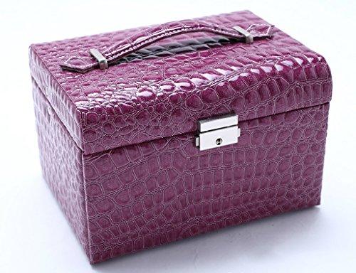 Étui cosmétique HWF Boîte à Bijoux Boîte de Rangement en Cuir Couches Multiples Portable Organisateur (Couleur : A)