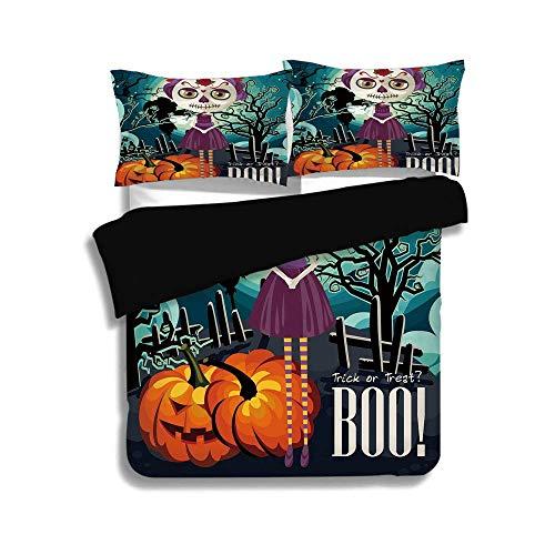 Schwarzer Bettbezug-Set, Halloween, Cartoon-Mädchen mit Zuckerschädel-Make-up Retro-Kunstwerk der Saison Wirbelte Bäume Boo Dekorativ, Mehrfarben, Dekorativ 3-teiliges Bettwäscheset von 2 Pillow Shams