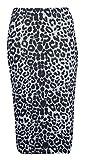 Womens Ladies Bodycon Animal Cross Skull Wow Print Pencil Skirt Midi Calf Length Normal and Plus sizes (8-26) (XL/XXL-UK(20-22), Leopard Grey)