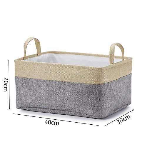 Zxxfr fatte a mano biancheria di cotone tessuto un cesto della biancheria giocattoli sundries cesto storage,beige,40 x 30 x 20cm