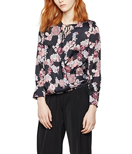 FIND Floral Tie Neck, Blusa para Mujer, Negro (Black Mix), Medium