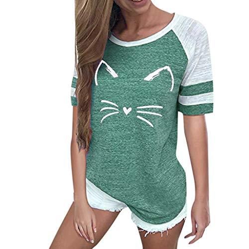POPLY Damen T-Shirt Frauen Katzen Drucken Streifen Kurzarm Rundhals Oberseiten Lässige Bluse Sweatshirt(Grün,M)