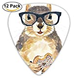 Nerdy Squirrel With Glass And Dessert.png Guitar Picks For Electric Guitar 12 Pack