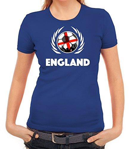 ShirtStreet World Cup Wappen Soccer Fussball WM Fanfest Gruppen Fan Wappen Damen T-Shirt Fußball England Royal Blau