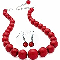 Dark red colour graduated bead choker necklace earring costume jewellery set