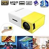 Prtorcz Mini-LCD-Projektor, voller HD 1080P Mini-Projektor für tragbare Heimkino-Kino-LED für Video-Media-Player, 320 x 240 Pixel 3,5 mm Audio/HDMI/USB/SD, Kindererziehung