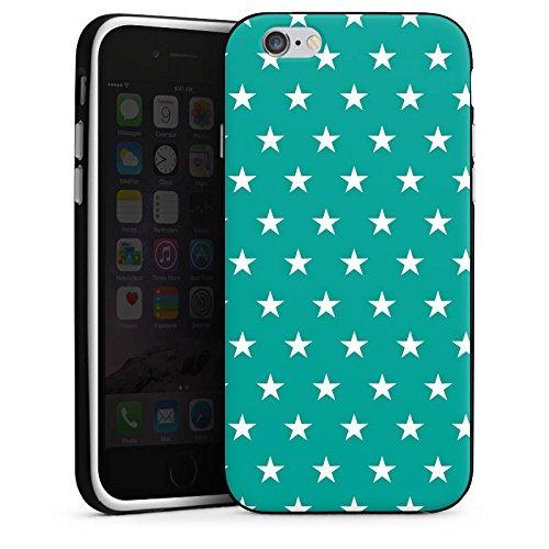 Apple iPhone 5s Housse étui coque protection Polka étoiles Turquoise Motif Housse en silicone noir / blanc
