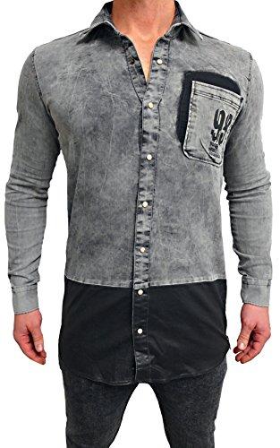 Deep Shirt Basic Oversize Style lang Longshirt Long Hoody Sommer Herren Sweatshirt NEU Sweater Sweat Jacke Pullover langes Longsleeve m Kapuzenpullover Langarm Sweatjacke Pulli (S, Grau - Jeanshemd)