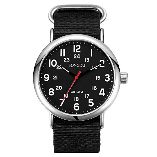 SONGDU Mens Quartz Wristwatch Stainless Steel Case with Black Dial Luminous Hand Fashion Black Nylon Strap Watch