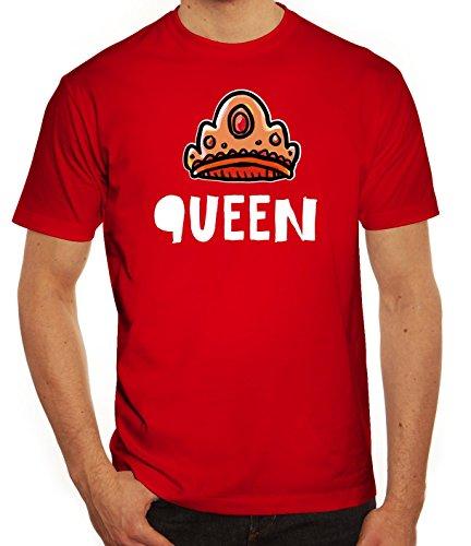 Geschenkidee Herren T-Shirt mit Crown Queen Motiv von ShirtStreet Rot