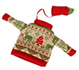 Weihnachtsrotwein-Flaschen-Abdeckung, gestrickte Strickjacke-Abdeckung [B]