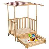 TecTake Arenero con techo para niños Veranda Madera Protección contra el Sol - disponible en diferentes colores - (Rojo | No. 401804)
