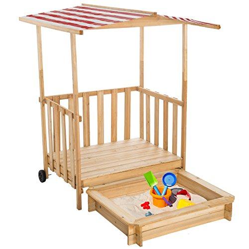 TecTake Sandkasten mit Dach Spielhaus Spielveranda Holz Sonnenschutz - Diverse Farben - (Rot | Nr. 401804)