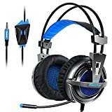 KingTop K12 Cuffie Chiuse Con Microfono Cuffie Gaming Per PS4 Xbox OneS Cuffie Da Gaming PC Connettore 3.5mm Cuffie Da Gioco Con Cavo Headset Gaming Wired Nero Blue