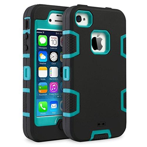 iPhone 4 Hülle, Supad iPhone 4s Hülle [Hybrid Serie] Stoßfest Weiche Silikon Case Cover Hart Schale Schutzhülle für Apple iPhone 4 4S (Schwarz Blau)