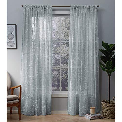 Exclusive home cali tenda a pannello trasparente, con finestra, coppia con asta tascabile, poliestere, melrose blu, 96x 50x 0.2cm