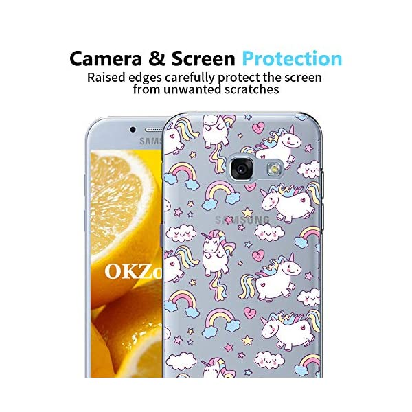 OKZone Galaxy A520 / A5 2017 Case with Screen Protector, Clear Cute Pattern Design Soft & Flexible TPU Ultra-Thin Shockproof Women Cover Cases for Samsung Galaxy A520 / A5 2017 (Unicorn) OKZone Compatible with Samsung Galaxy A520 / A5 2017. Package Includes: 1 x Phone Case + 1 x HD Screen Protector. Ultra-Clear: Slim, transparent protective bumper case body reveals and enhances the original color of the Samsung Galaxy A520 / A5 2017. Made of high quality soft TPU which is safe and protective, light weight which fits your phone perfectly. 5