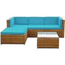 ikayaa set mueble de jardn de poli ratn conjunto de muebles con cojines para patio color