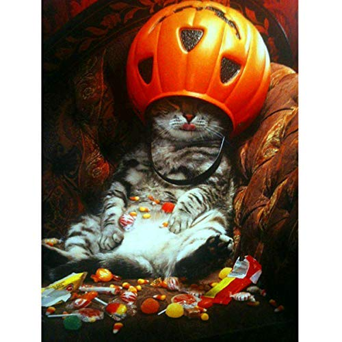MXJSUA 5D Diamant-Malerei, Runde Bohrer-Kits für Erwachsene, geklebte Stickerei, Kreuzstichkunst, Handwerk für Zuhause, Wanddekoration, Halloween, Süßigkeiten, Katze, 30,5 x 40,6 cm