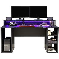 """FORTE """"TEZAUR"""" Gaming Desk, Schreibtisch, schwarz-matt,"""