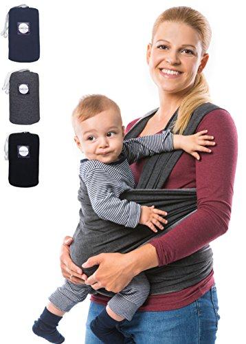 KOMO´LOLE® Premium Babytragetuch | elastisches Tragetuch für Früh- und Neugeborene bis 15 kg | inkl. Trageanleitung | Trage dein Baby mit Liebe und KOMO´LOLE (Grau) (Wickeln Erwachsene Pullover)