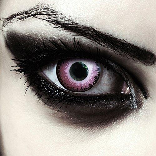 Pinke farbige Elfen Kontaktlinsen ohne Stärke für Halloween Farblinsen in pink Model: Pink Elfe + gratis ()