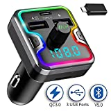 SAIMPU Bluetooth FM Transmitter for Car, USB C PD 3.0 Car Charger & Bluetooth Car Adapter/Radio Transmitter with 7 Color LED Backlit, 3 USB Ports, Hands-Free Call, Music Player Support U Disk/TF Card