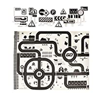 GreatFun Kids Carpet Play Mat City Road Buildings Parking Map Game Scene Map Traffic System Educational Toys - Learn & Have Fun Safe